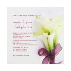 Incroyable Calla Lily Wedding Invitation Card