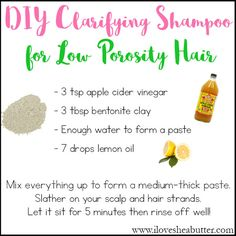 Clarifying Shampoo for Natural Hair that's Low Porosity diy clarifying shampoo for natural hair. This is a great hair clarifier for low porosity hair!diy clarifying shampoo for natural hair. This is a great hair clarifier for low porosity hair! Best Natural Hair Products, Natural Hair Regimen, Natural Haircare, Natural Beauty Tips, Natural Hair Styles, Curly Hair Styles, Beauty Products, Low Porosity Hair Products, Hair Porosity