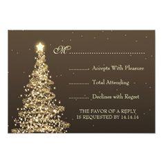 Elegant Christmas Wedding RSVP Gold Brown Card