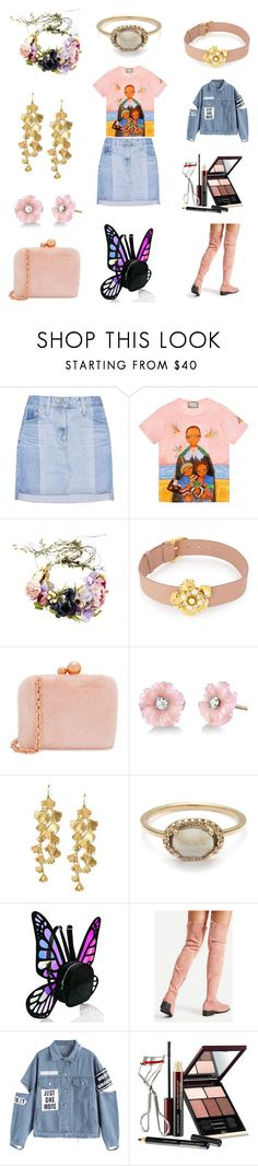 """Lol. Like I can afford this!"" by jessica-jude17 ❤ liked on Polyvore featuring AG Adriano Goldschmied, Gucci, Henri Bendel, Sophia Webster, Irene Neuwirth, Tory Burch, Current Mood and Kevyn Aucoin"
