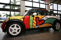 For Romero Britto, luck and charm trump talent - Miami New Times Mini Driver, Vehicle Signage, Vehicle Branding, Mini One, Custom Paint Jobs, Custom Art, Weird Cars, Unique Cars, Arte Pop