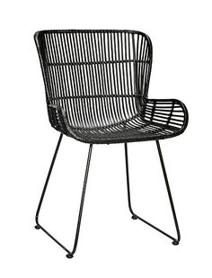 Beautiful rattan chair from the interior brand from Denmark; This black Hübsch rattan chair has a strong metal frame, around it is woven rattan. Black Rattan Chair, Rattan Dining Chairs, Woven Chair, Bistro Chairs, Outdoor Chairs, Outdoor Furniture, Outdoor Decor, Outdoor Spaces, Buy Chair