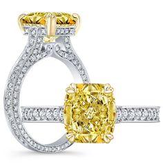 Pear Shaped Diamond Ring, Cushion Cut Diamond Ring, Cushion Cut Diamonds, Custom Made Engagement Rings, Yellow Diamond Engagement Ring, Unique Rings, Natural Diamonds, Bling Bling, Bridal Shower