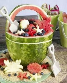 Watermelon bucket with sea creatures