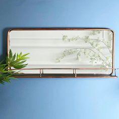 Industrial Metal Wall Mirror Shelf - Copper finish - The Farthing 23 Wall Mirror With Shelf, Mirror Set, Wall Mirrors, Copper Mirror, Copper Wall, Copper Metal, Shabby Chic Mirror, Small Shelves, Looks Chic