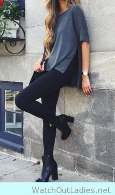 Split grey tee with leggings and booties