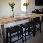 Reclaimed wood bar restaurant counter community rustic custom kitchen