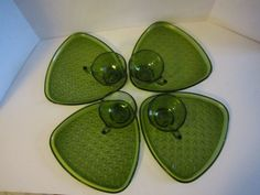 Vintage Snack Set Olive Green Snack Set Daisy and by GOSHENPICKERS, $20.00