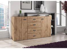 Dressoir Bello - Eiken - Antraciet - 180 cm Dresser, Divider, Cabinet, Storage, Interior, Room, House, Furniture, Home Decor