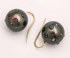 Giant Tahitian Pearl Black Diamond Earrings   From a unique collection of vintage drop earrings at https://www.1stdibs.com/jewelry/earrings/drop-earrings/
