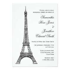 Parisian Eiffel Tower Black White Rehearsal Dinner Card