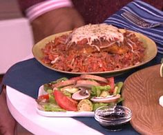 Hungry Girl Meal Swaps | Steve Harvey Show - Chicken Parmesan with broccoli slaw as noodle replacement