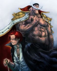 boyaking cape edward newgate facial hair grin male focus manly multiple boys mustache one piece red hair shanks shirtless smile sword weapon - Image View - One Piece Fan Art, One Piece New World, One Piece Crew, One Piece Anime, Barba Branca One Piece, Akuma No Mi, Mugiwara No Luffy, Es Der Clown, One Piece Cosplay