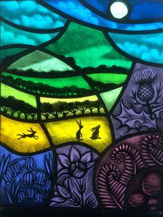 Fused Glass art For Kids - - - Glass art Design Ocean Waves - Sea Glass art Moon - Modern Stained Glass, Stained Glass Paint, Stained Glass Designs, Stained Glass Panels, Stained Glass Patterns, Broken Glass Art, Sea Glass Art, Fused Glass, Glass Beach
