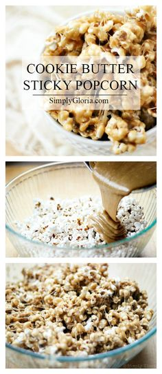 Cookie Butter Sticky Popcorn with Candy Recipes, Sweet Recipes, Snack Recipes, Dessert Recipes, Biscoff Cookie Butter, Butter Cookies Recipe, Biscoff Cookies, Biscoff Recipes, Pop Corn