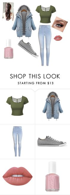 """""""Untitled #1671"""" by shadow-dxlvi on Polyvore featuring LE3NO, H&M, Converse, Lime Crime and Essie"""