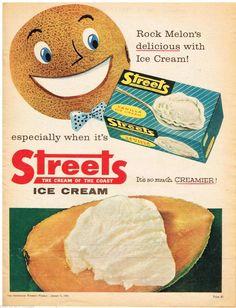AUSTRALIAN Vintage Advertising STREETS ICE CREAM AD BOX ART 1960's Original Ad