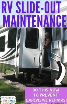 Easy RV Slide-Out Maintenance Tips - It's expensive to repair a damaged slide-out! Do these things NOW to maintain your RV slide-outs and avoid the costly repairs. Camper Life, Rv Campers, Rv Life, Rv Hacks, Camping Hacks, Travel Hacks, Travel Tips, Airline Travel, Rv Interior