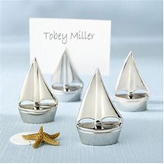 Place Cards and Holders 4 pcs Silver Sail Place Card Holders (Set of 4) – GBP £ 2.91