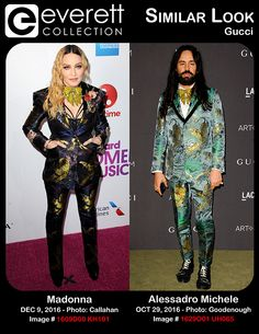 Madonna (wearing a Gucci suit) at arrivals for Billboard Women In Music 2016, Pier 36, New York, NY December 9, 2016. Photo By: Kristin Callahan/Everett Collection *** Alessadro Michele (wearing a Gucci suit) at arrivals for 2016 LACMA Art + Film Gala, Los Angeles County Museum of Art, Los Angeles, CA October 29, 2016. Photo By: Elizabeth Goodenough/Everett Collection
