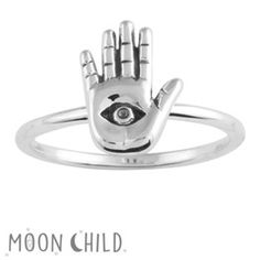 Image of Palmistry hand eye ring (Sterling silver)