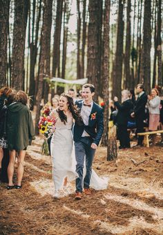 Bride and groom just married style on the New South Wales woodland wedding day.    Dress by http://www.bridalcouture.co/.  Photography by http://www.davidrobertson.com.au/