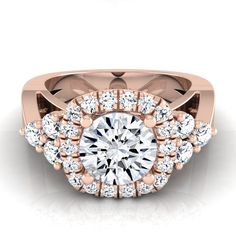 14k Rose Gold 1 2/ 3ct Certified Round Diamond Square Halo Engagement Ring (Size - 5.5), Women's
