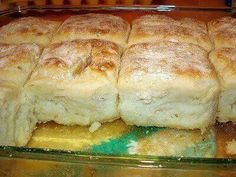 7-up Biscuits  INGREDIENTS: 4 cups Bisquick 1 cup sour cream 1 cup 7-up 1/2 cup melted butter  DIRECTIONS: Mix Bisquick, sour cream and 7 up.   (Dough will be very soft)  Knead and fold dough until coated with your baking mix.   Pat dough out and cut biscuits using a round biscuit / cookie cutter.   Melt butter in bottom of cookie sheet pan or 9x13 casserole dish.   Place biscuits on top of melted butter and bake @ 425 degrees for 12-15 minutes or until brown