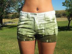 NEW Hand Dyed MOSS GREEN Linen Cotton Blend Tie Dye Shorts Small Medium Large #BasixofAmerica #MiniShortShorts