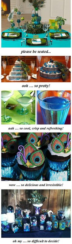 Love the drinks, cupcake liners, and color assortment at the bottom! Peacock Birthday Party, 30th Birthday Parties, Birthday Celebration, Peacock Theme, Peacock Colors, Peacock Wedding, Peacock Blue, Purple Wedding, Peacock Christmas