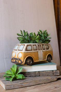 Garden enthusiasts will love this adorable ceramic retro Volkswagen van planter! Distinctive home & garden decorative accessories and accents. Made by Kalalou. Ceramic Pottery, Ceramic Art, Mini Vasos, Yellow Vans, Keramik Design, Decoration Plante, Camping Gifts, Mellow Yellow, Color Yellow