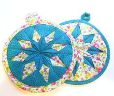 Folded Star Blue Hot Pad Set of 2 Handmade Quilted by ReneesRetro, $15.00