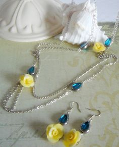 Necklace and earrings -Yellow and blue glass- bridesmaid jewelry?