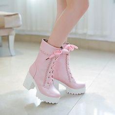 shoes cute cute high heels cute shoes lovely sweet platform shoes white shoes pa… - Sport News Lace High Heels, High Heel Boots, Heeled Boots, Shoe Boots, Calf Boots, Dress Boots, Boot Heels, Pop Punk Fashion, Cute Fashion