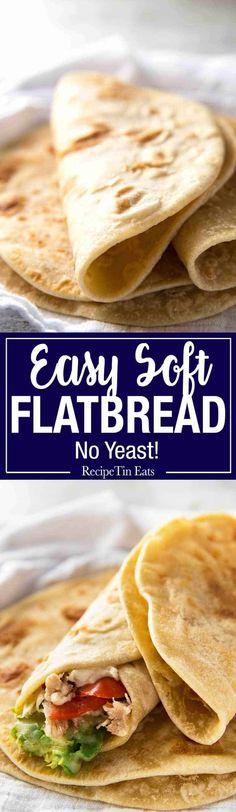 Soft Flatbread (No Yeast) This flatbread recipe is made without yeast, yet is soft and pliable and wonderfully moist. This flatbread recipe is made without yeast, yet is soft and pliable and wonderfully moist. Easy Soft Flatbread Recipe, Flatbread Recipe No Yeast, Unleavened Bread Recipe, Recipetin Eats, Recipe Tin, Good Food, Yummy Food, Delicious Recipes, Chapati