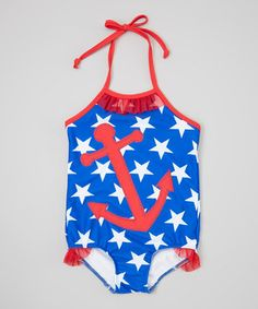 This Blue & Red Anchor One-Piece - Infant, Toddler & Girls by little bits is perfect! #zulilyfinds