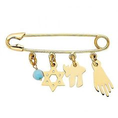 Other Fine Pins and Brooches 11007: 14K Yellow Gold Evil Eye Nazar Hamsa Star Of David Lucky Diaper Safety Pin -> BUY IT NOW ONLY: $167.99 on eBay!