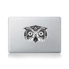 Great Horned Owl Vinyl Sticker for Macbook (13/15) or Laptop by George Birch
