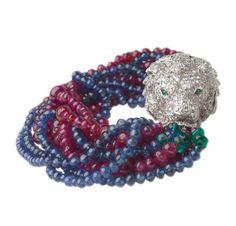 A Ruby, Sapphire bead and Diamond Lion's Head Bracelet, circa 1960. Via FD Gallery, www.fd-inspired.com