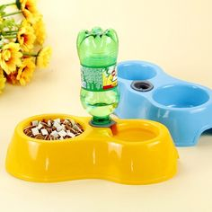 Pet Dog House Cat Eating a Bowl of Dog Food Bowl Double Bowl Automatic Cats and Dogs Eating and Drinking Bowls
