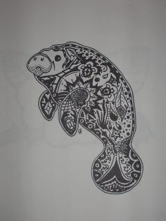 manatee zentangle...   you can tell i miss Snooty The Manatee :(
