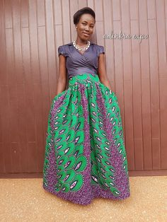 Beautiful full length skirts made with bold African wax print design.Skirt features pleats, side pockets and buttons down the front. These skirts are custom made to order. Please allow 2-3 weeks for production and 2-3 weeks for delivery. Rush Delivery Available from $45 and up. Choose from available fabrics at www.etsy.com/shop/ankaraafricanfabric