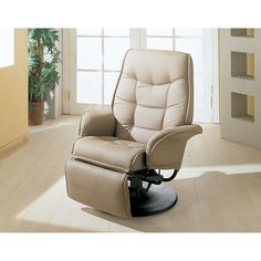 Berri Beige Swivel Recliner With Flared Arms Coaster Furniture Recliners Chairs & Recliner