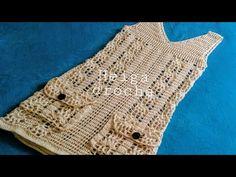 Crochet Beach Dress, Crochet Cardigan, Knitting Videos, Crochet Videos, Crochet Designs, Crochet Patterns, Crochet Baby, Crochet Top, Diy Crop Top