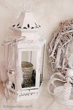 Adventskranz - Adventskranz Laterne Weiß - ein Designerstück von Wohngeschichten-von-K- bei DaWanda