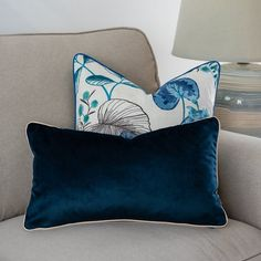 Piped velvet cushion cover, Double-side case pillowcase, decorative cushion,30x50cm, elegance cover pillow, Navy blue pillows cover