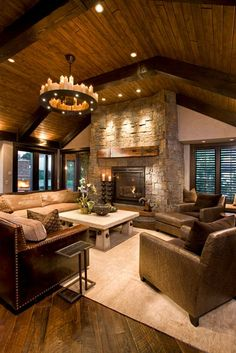 46 Stunning Rustic Living Room Design Ideas design home design Style At Home, Home Living Room, Living Room Designs, Living Area, Big Living Rooms, Beautiful Living Rooms, Rustic Interiors, Log Homes, Home Fashion