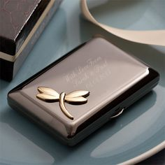 Engraved Black Plated Compact Mirror With Gold Plated Dragonfly