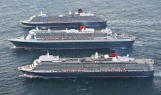 Cunard's three newest ships - Queen Victoria, Queen Elizabeth and Queen Mary 2 - were photographed side-by-side at sea for the first time ever