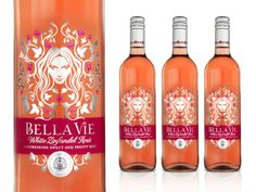 A 'refreshingly sweet and fruity' wine called Bella Vie gets an uber-feminine look in this packaging by Ziggurat Brands, marketed toward women who aren't exactly wine-savvy